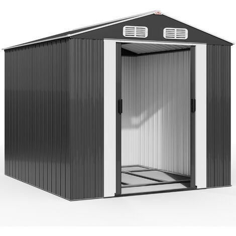 Abri de jardin en métal vert 14,65m³ Cabane rangement vélos outils bricolage