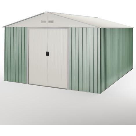 Abri de jardin en métal vert/beige jusqu'à 15,50 m2 - Garantie 10 ans