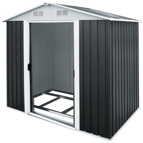 abri de jardin en m tal gris cabane de jardin remise. Black Bedroom Furniture Sets. Home Design Ideas