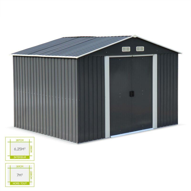 Abri de jardin en métal - WEPPES 7 m² anthracite - Cabane à outils ...