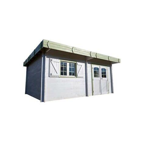 Abri de jardin madriers bois massif à double rainurage toit plat avec bac acier 25.32 m²