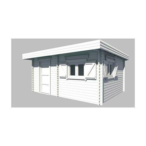 Abri de jardin madriers bois massif double rainurage Grand Volume toit plat avec bac acier 25.38 m²