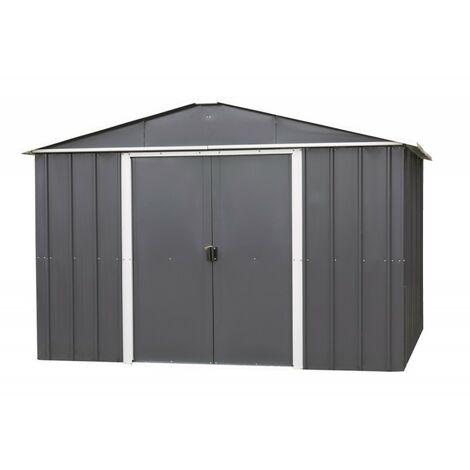 Abri de jardin métal anthracite 12m² + kit d'ancrage inclus - YARDMASTER