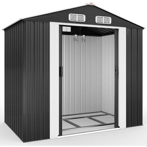 Abri de jardin métal 210x132x186cm - Cabane de jardin - Rangement outils/vélos - Anthracite