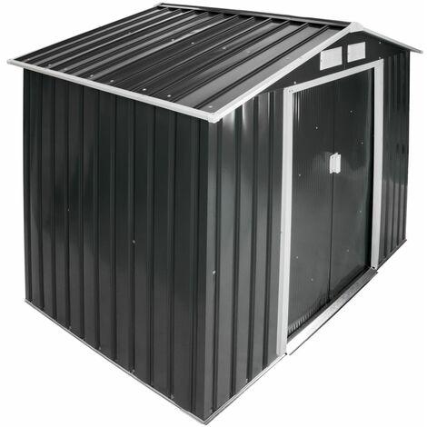 Abri de jardin métal 2,7 m² toiture 2 pans gris - Gris