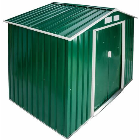 Abri de jardin métal 2,7 m² toiture 2 pans vert - Métal