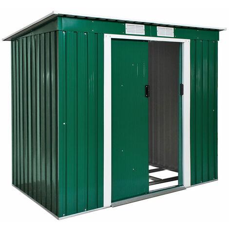 Abri de jardin métal 2,7 m² toiture monopente vert - Métal