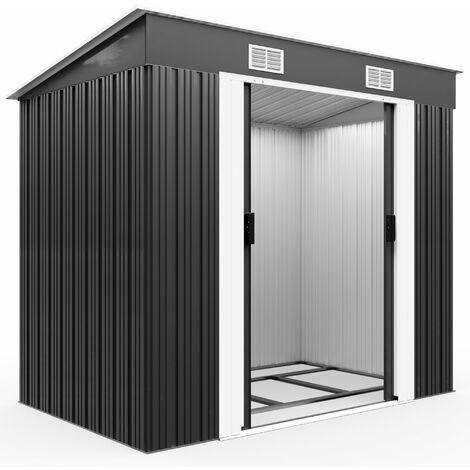 Abri de jardin métal 3,35m³ - Cabane de jardin - Rangement vélos/outils - Gris