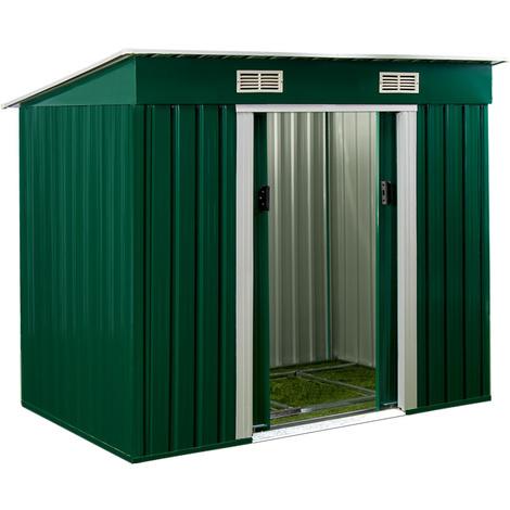 Abri de jardin en métal vert Cabane Remise Rangement outils - avec ...