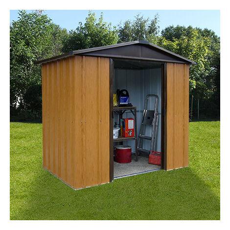 Abri de jardin métal 4,38 m² - aspect bois et marron