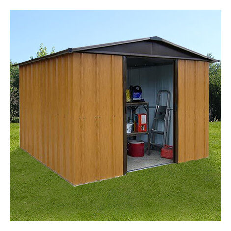 Abri de jardin métal 9 m² - aspect bois et marron - 1310079