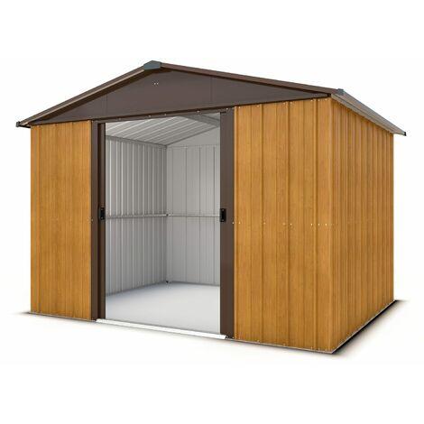 Abri de jardin métal aspect bois 5,3 m2 Yardmaster + kit d'ancrage
