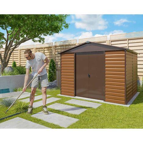 Abri de jardin métal aspect bois Yardmaster 6,44 m2. + kit d'ancrage inclus