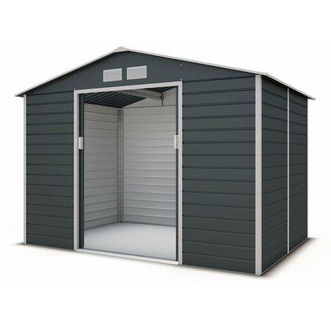 Abri de jardin métal coloris gris anthracite 4,83 m2. + kit d'ancrage inclus