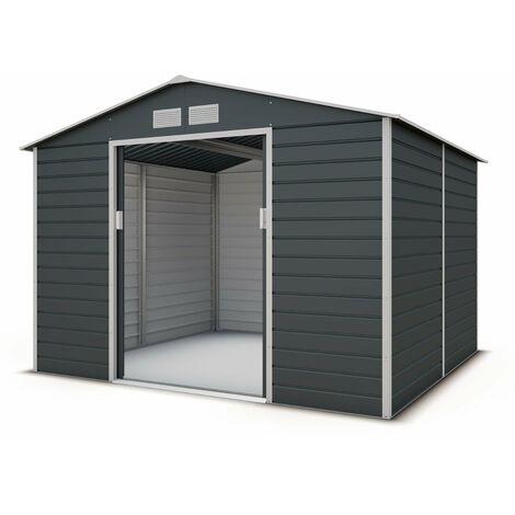 Abri de jardin métal gris 6,5 m2 + kit d'ancrage