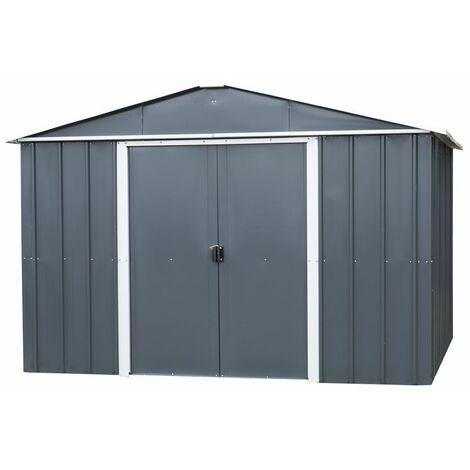 Abri de jardin métal gris 8,12 m2 Yardmaster + kit d'ancrage