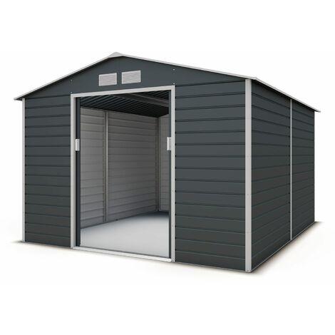 Abri de jardin métal gris 8,25 m2 + kit d'ancrage