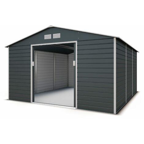 Abri de jardin métal gris anthracite 12,27 m2. + kit d'ancrage inclus