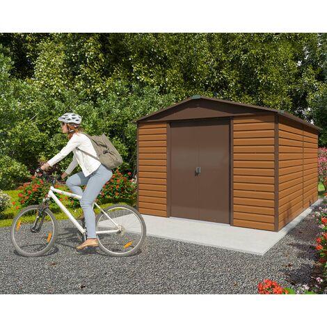 Abri de jardin métal imitation bois 10,46 m2 Yardmaster + kit d'ancrage