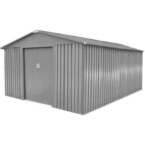Abri de jardin métal LMJ 13,5 m² RAL 7039 - Galvanisé à chaud = 1 porte  outils OFFERT