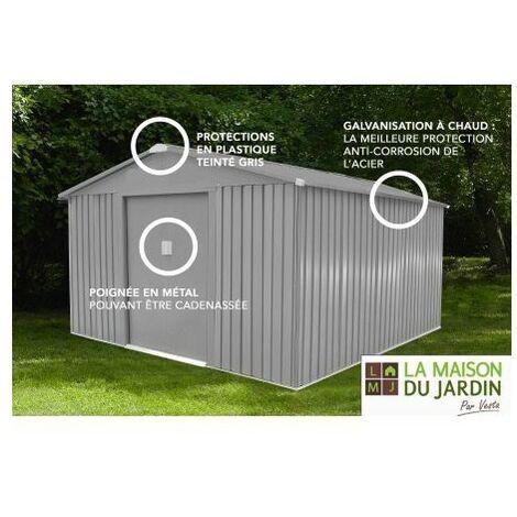 Abri de jardin métal LMJ 9,7 m² - Galvanisé à chaud