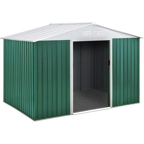 """Abri de jardin métal """"Rosas"""" 10.85 m² avec abri bûche"""