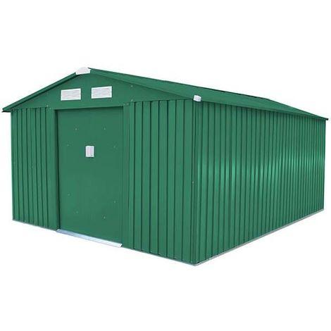 Abri de jardin métal vert 10,85 m2. + kit d'ancrage inclus