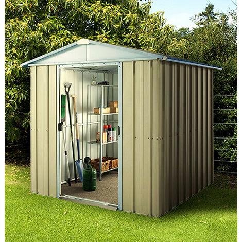 Abri de jardin métal YARDMASTER 2,33 m² couleur vert d'eau + kit d'ancrage inclus