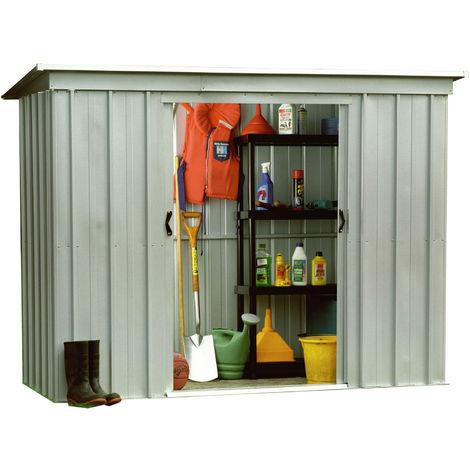 Abri de jardin métal YARDMASTER 2,33 m2. coloris alu. + kit d'ancrage inclus