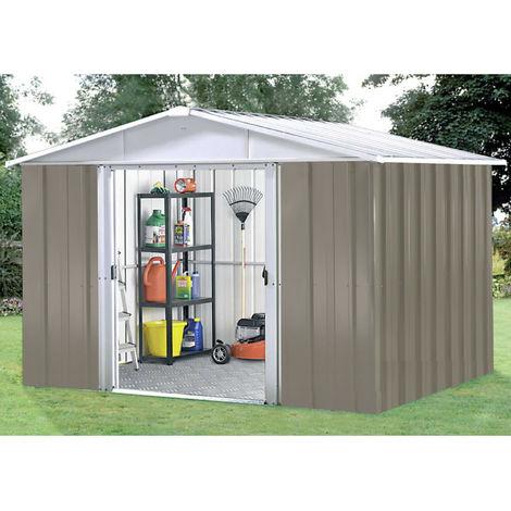 Abri de jardin métal YARDMASTER 6,44 m² couleur beige + kit d'ancrage inclus
