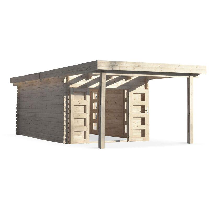 Abri de jardin moderne avec auvent COMPIEGNE en bois FSC de 25 m² ...