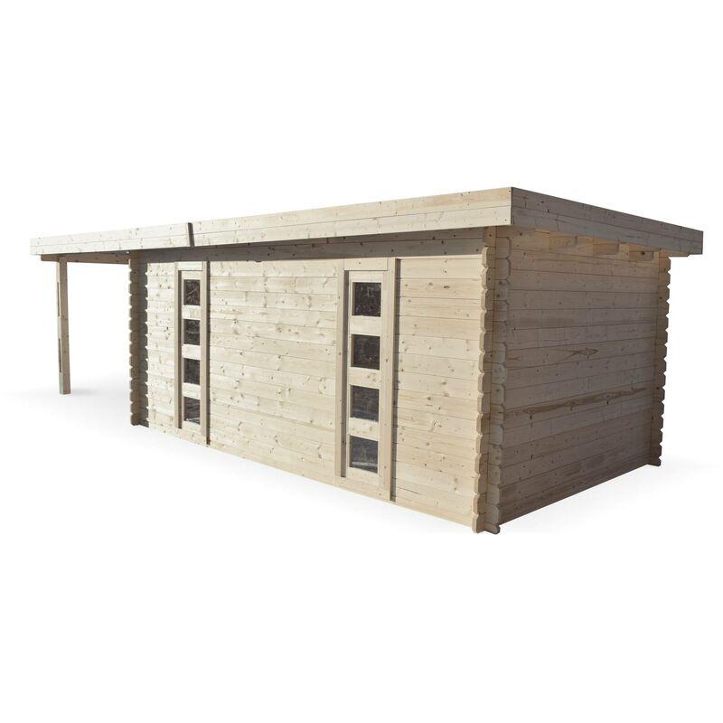 Abri de jardin moderne avec auvent COMPIEGNE en bois FSC de 25 m²,  structure en madriers 34 mm, sapin séché