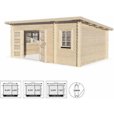 Abri De Jardin Moderne RANDAN En Bois FSC De 21 M², Structure En Madriers 34