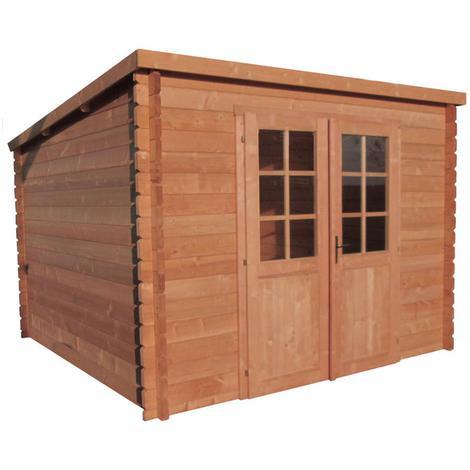 Abri de jardin monopente 9m² en bois massif traité 40mm - GreenShed ...