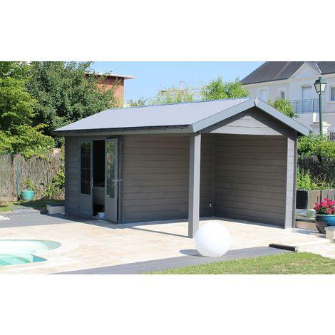 Abri de jardin - Pool House composite 6 x 3 avec toit 2 pentes