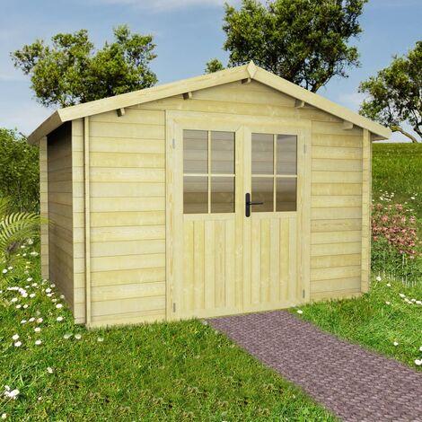 Abri de jardin pour bûches de bois 28 mm 3,1 x 3 m Bois massif