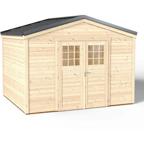 Abri de Jardin Premium Shelty + - Toiture en Acier Galvanisé Garantie 10 ans - Sol Traité Autoclave Classe 4 - Double Porte L175*H183 - Quincaillerie 100% aucunydables - 324x274xH.240cm/9m²