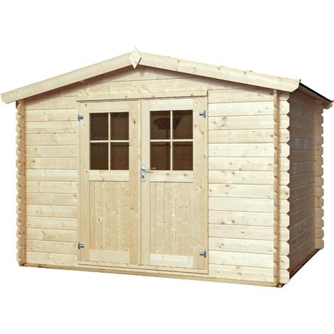 Abri de jardin, rangement a outils, structure en madriers emboites de 28  m/m. 320x320 cm, double porte 1/2 vitree, toiture double pente roofing