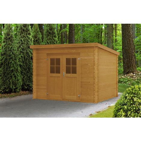 Abri de jardin, rangement a outils, structure en madriers emboites de 28  m/m. 320x320 cm, double porte 1/2 vitree, toiture mono pente roofing