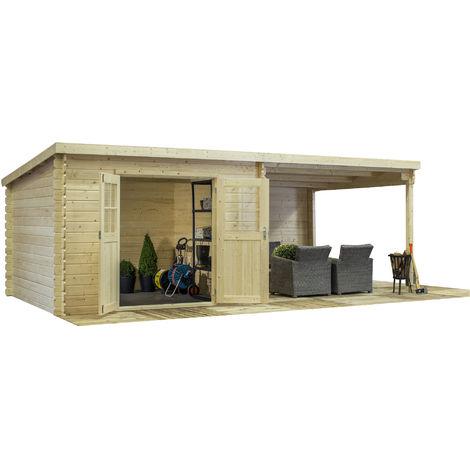 Abri de jardin, rangement a outils. Structure en madriers emboites de 28  m/m. 320x600 cm, double porte 1/2 vitree, avec auvent lateral, toiture mono  ...