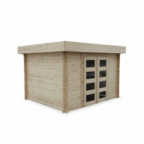Abri de jardin VIZZAVONA en bois FSC de 8,59m², structure en madriers, sapin séché