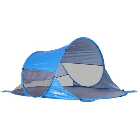 Abri de plage tente de plage pliable pop-up automatique instantané protection UV fenêtre arrière grand tapis de sol bleu ciel