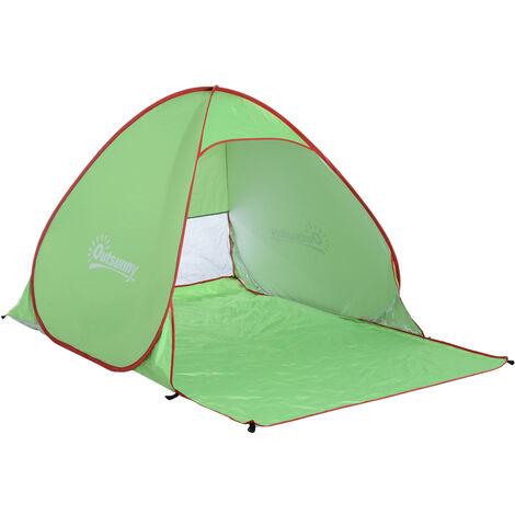 Abri de plage tente de plage pliable Pop-up automatique instantané protection UV fenêtre arrière grand tapis de sol vert rouge - Vert
