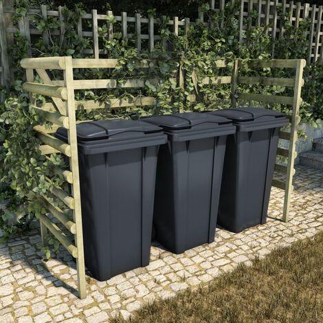 Abri de poubelle triple Vert 210x80x150 cm Pin imprégné
