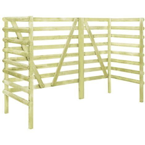 Abri de poubelle triple Vert 210x80x150 cm Pin imprégné FSC