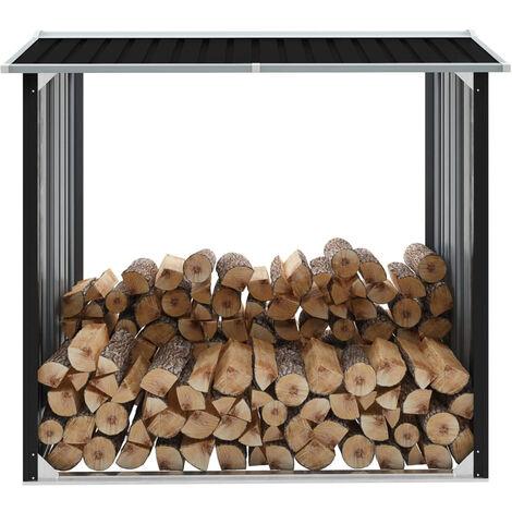 Abri de stockage a bois Acier galvanise 172x91x154cm Anthracite