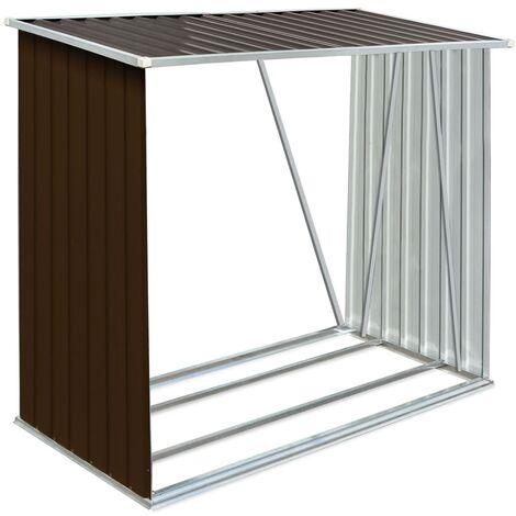 Abri de stockage de bois Acier galvanisé 163x83x154 cm Marron