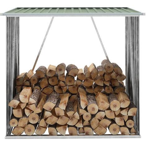 Abri de stockage de bois Acier galvanise 163x83x154 cm Vert