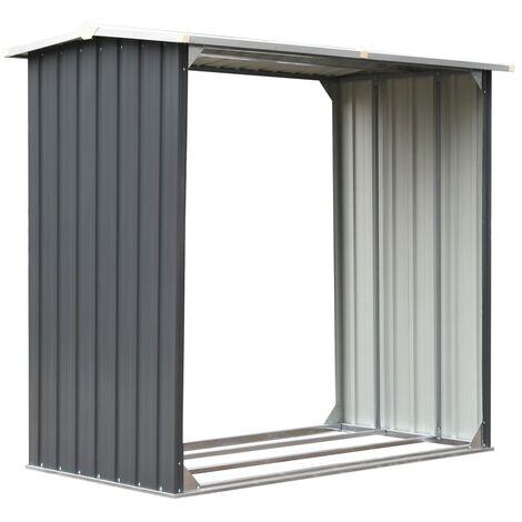 Abri de stockage de bois Acier galvanisé 172x91x154 cm Gris
