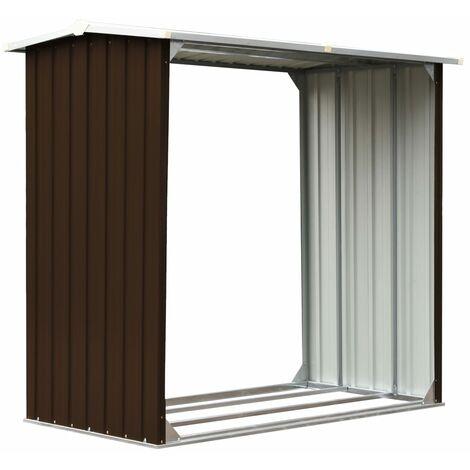 Abri de stockage de bois Acier galvanisé 172x91x154 cm Marron